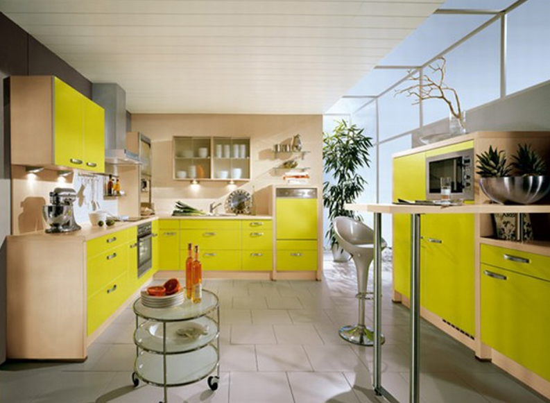 Beautiful yellow kitchen design ideas with colorfull paints Kitchen colour design tips