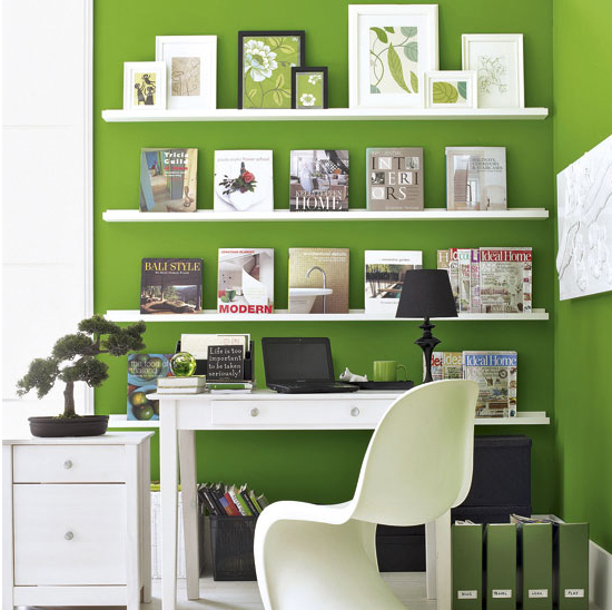 green home offfice room with bookcase design