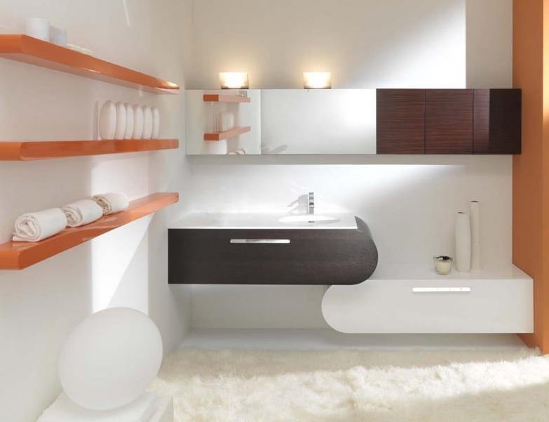 Minimalist bathroom interior design by lasaidea for Salle de bain moderne orange