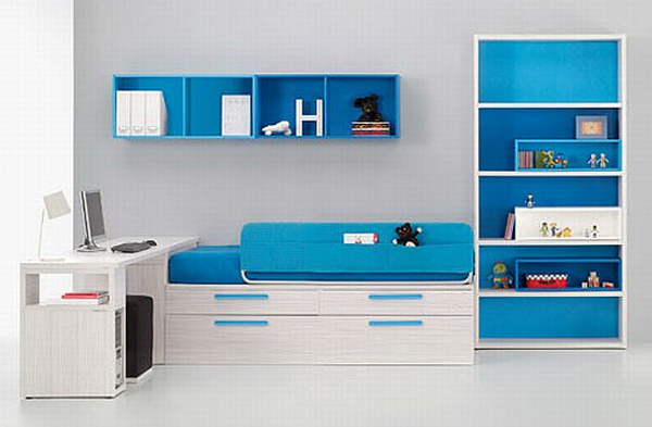 Blue kids bed furniture by bm company for Modern furniture companies