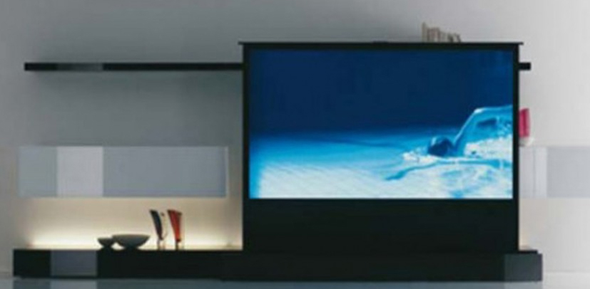 Clean and minimalist home theater room design from acerbis for Minimalist house cleaning