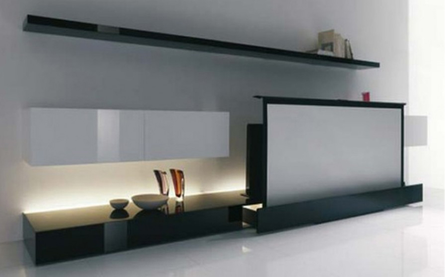 Clean and minimalist home theater tv from acerbis for Design from home