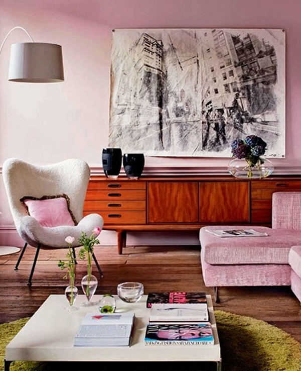 contemporary living room with pink decor