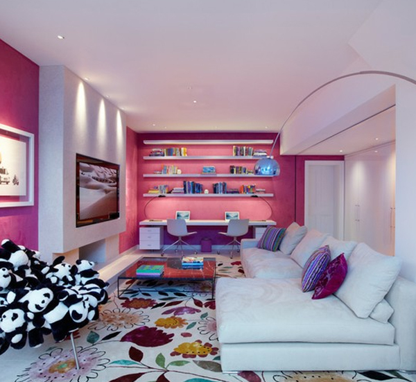 Pink living room design ideas for Room design ideas pink