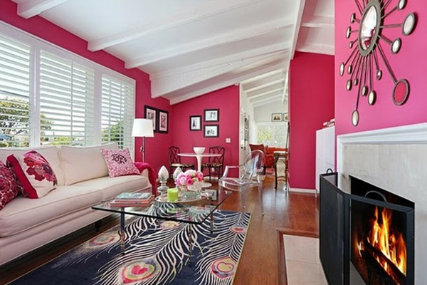 Inspired Pink Living Room Design With Fire Places