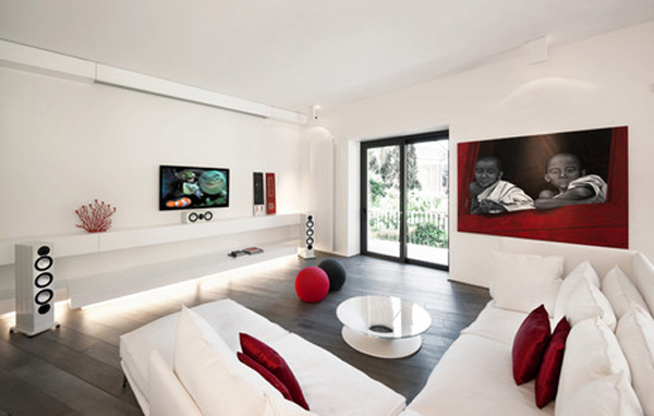 Modern apartment furniture located in rome for Modern living room apartment
