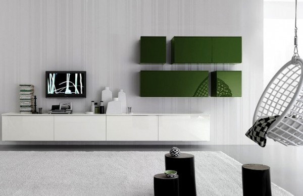 modern wall storage system in interior house 600x389 Stylish and Modern Wall Storage System in Interior House