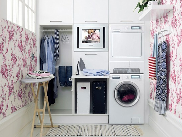 20 small laundry room ideas white and clean solutions for Laundry room organizing solutions