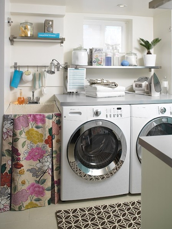 20 small laundry room ideas white and clean solutions for Decorate a laundry room