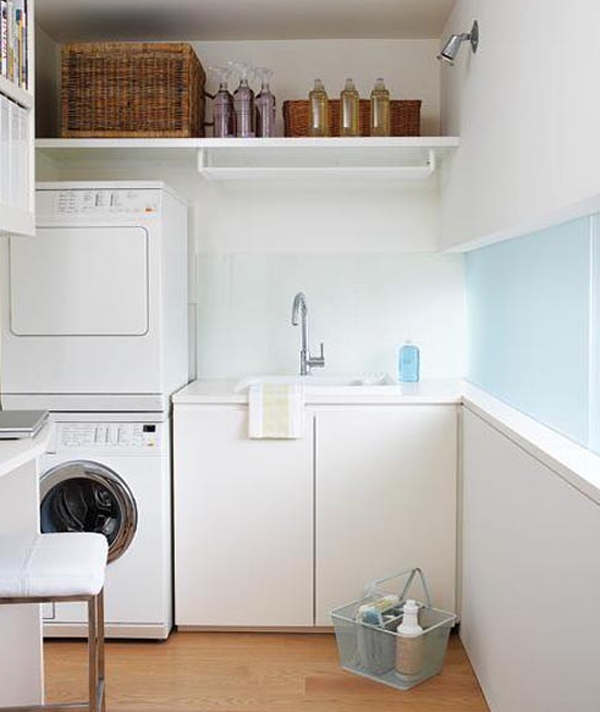 20 small laundry room ideas white and clean solutions for Small laundry design