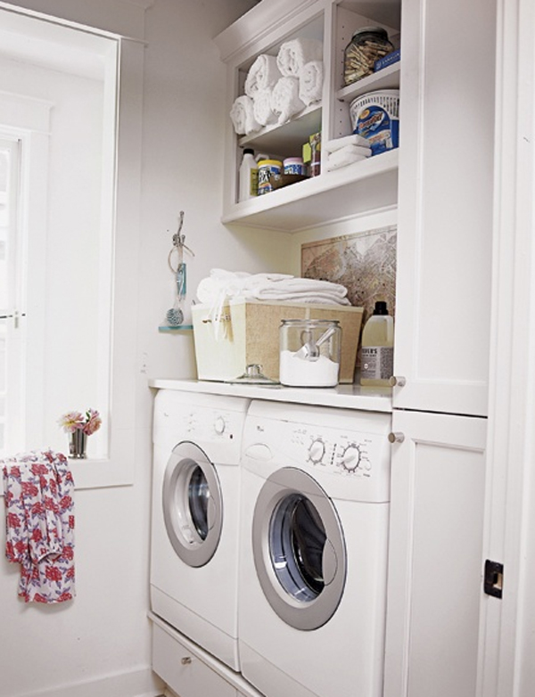 20 Small Laundry Room Ideas : White and Clean Solutions ... on Small Laundry Ideas  id=64985