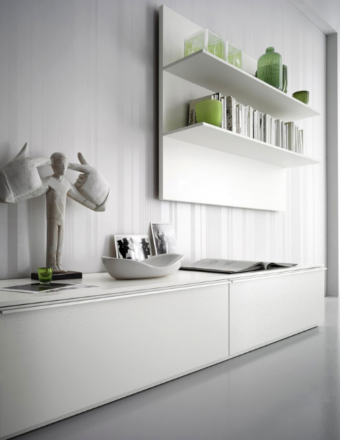 white wall system storage system in interior house Stylish and Modern Wall Storage System in Interior House