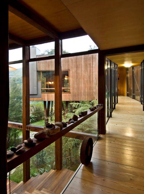 wooden house design with big glass window