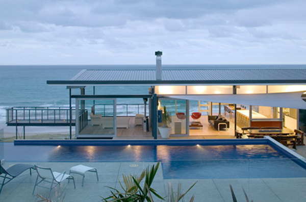 beach house design by pete bossley architects Minimalist Beach House by Bossley Architects