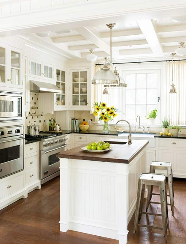 White kitchen room interior design for Home interior design kitchen room