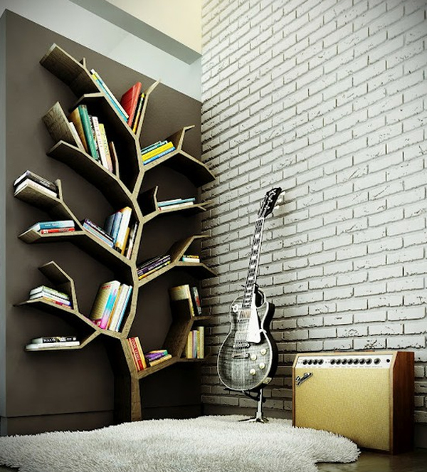 Modern Home Design October 2012: Cool-and-modern-bookshelves-design-with-tree-branch