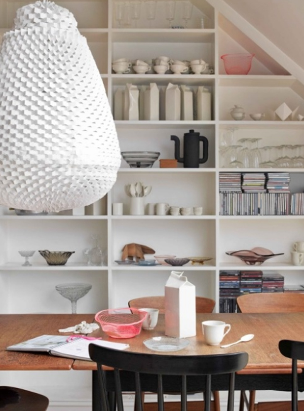 . cute and small dining room design with storage ideas