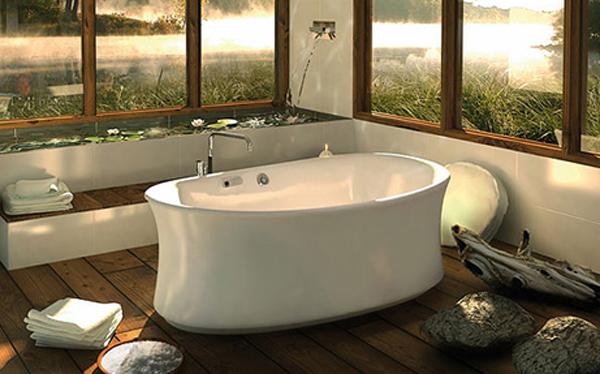 Minimalist rustic bathroom design for Zen type bathroom designs