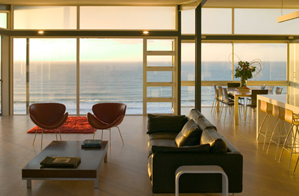 minimalist living room design in beach house Minimalist Beach House by Bossley Architects