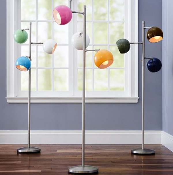 modern floor lamps with three colorful orbs home design