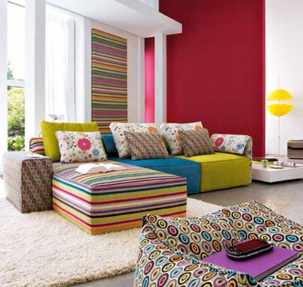 10 Modern Living Room Design Make Over Colorful Fabrics