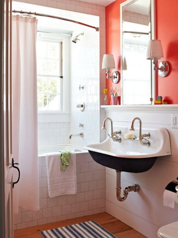 Fresh and small orange bathroom decor ideas for Bathroom decor 2012