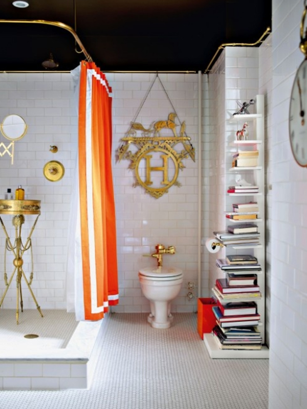 Small orange bathroom decor ideas for Bathroom decor 2012