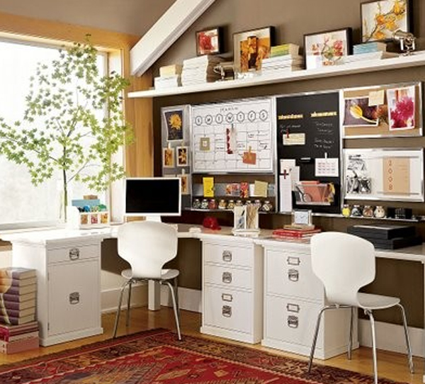 Double and small home office desk ideas Creative home office design