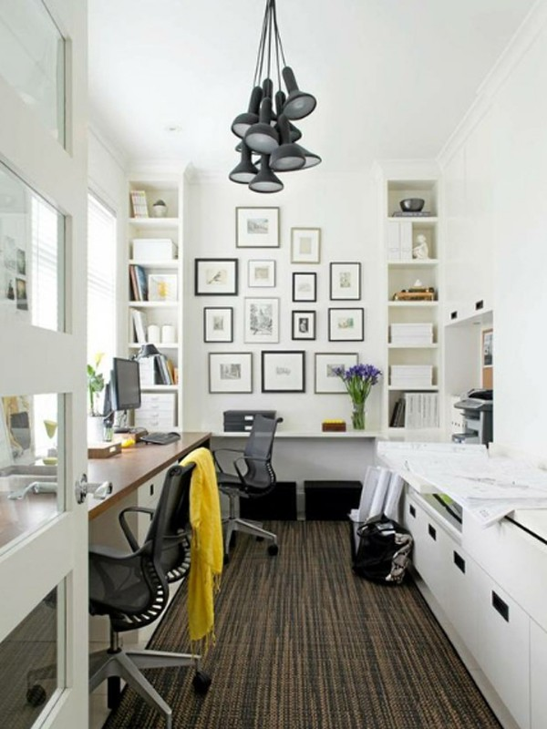 White home office room ideas for Office space layout ideas