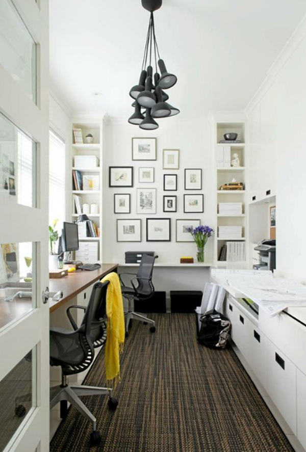 28 white small home office ideas home design and interior for Long narrow office layout