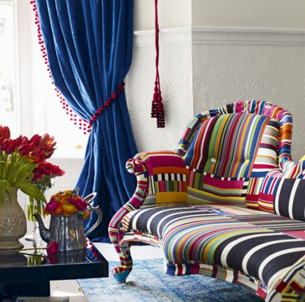 Small living room with colorful fabrics for Room decor material