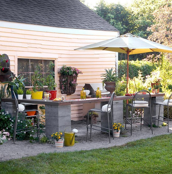 Small outdoor kitchen design ideas for Small space backyard ideas