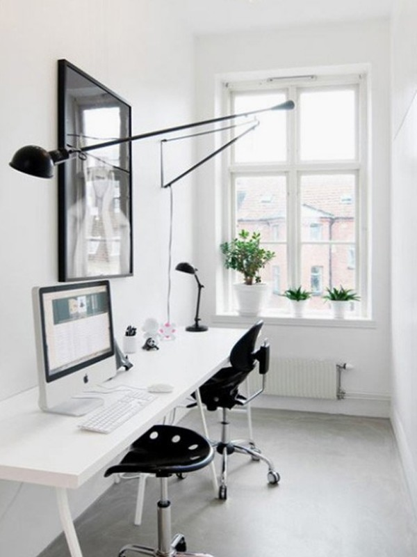 White home office room ideas for Home office design decorating ideas