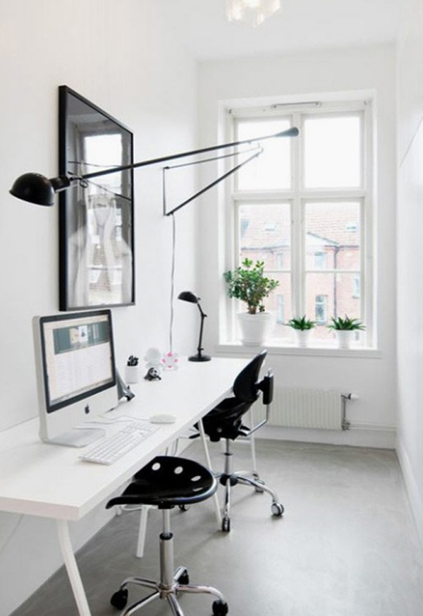 Home Office Room Design: 28 White Small Home Office Ideas