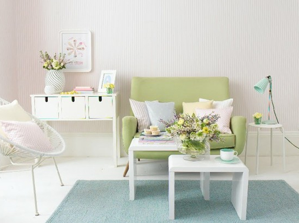Pink pastel living room furniture ideas for Living room ideas pastel