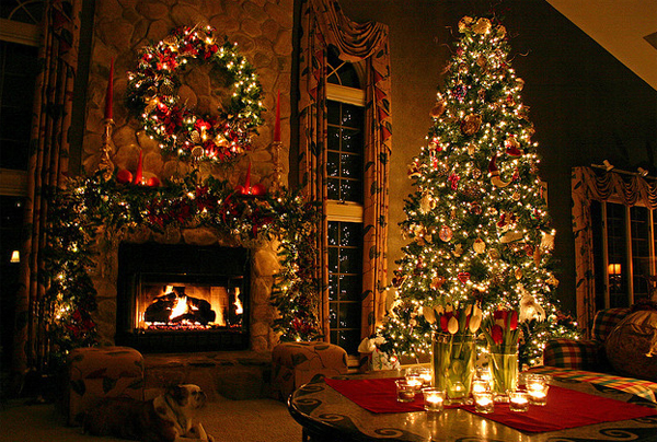 Awesome and beautiful christmas tree with fireplace ornaments House beautiful christmas trees