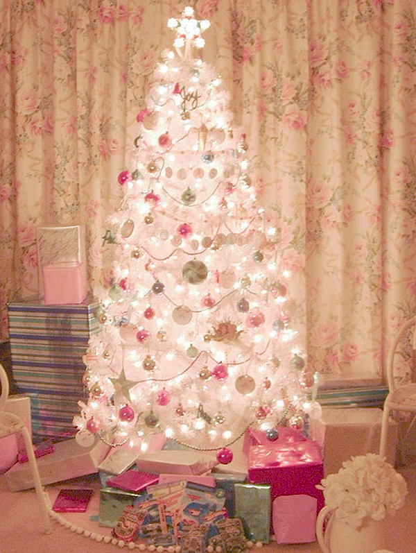cute and beautiful pink christmas trees ornament