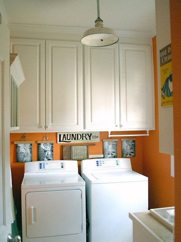 Orange and colored laundry room design 2013 Design a laundr room laout