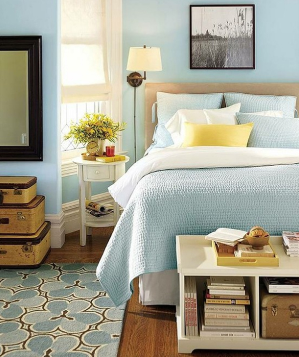 Blue And Pastel Bedroom Decorating
