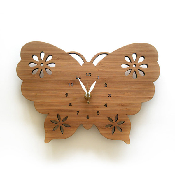 butterfly clock desin ideas Wooden Clock Ideas with Animal Themed