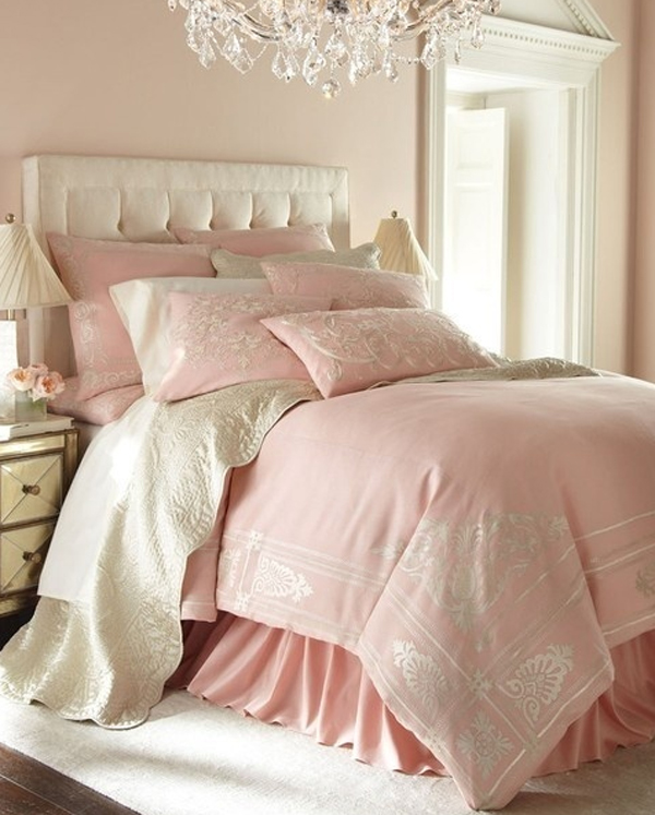 chic  charming pink pastel bedroom design
