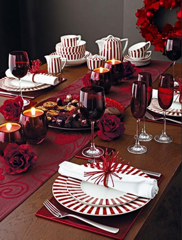 pink christmas table setting ideas