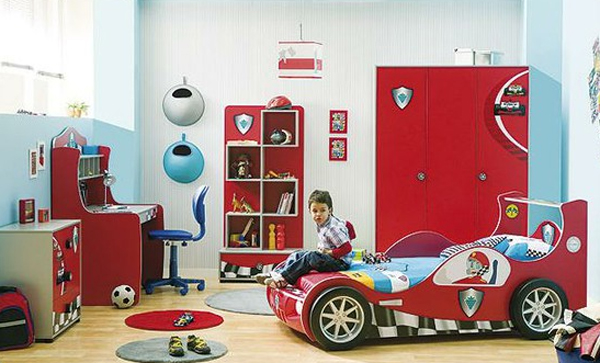 Kids bedroom set with cars themed for Boy car bedroom ideas