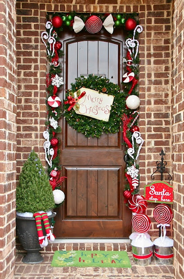 Colorful Christmas Doors With Flower Ornaments