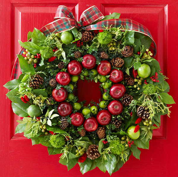 Fresh and colorful christmas wreath for door