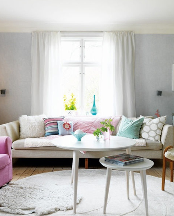 Colorful pastel living room interior design for Living room ideas pastel