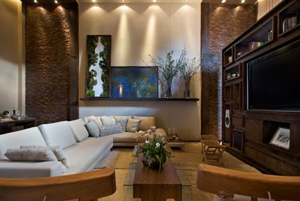 Cool and minimalist home theater with sofa design for Cool home decor