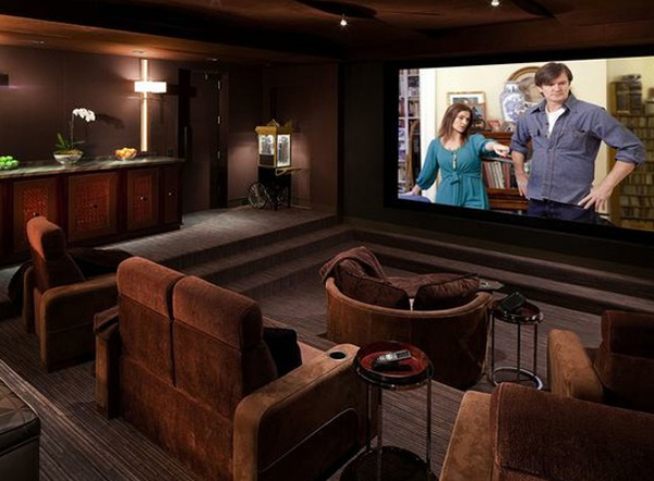 Cool And Minimalist Home Theater Design With Sofa Furnitures