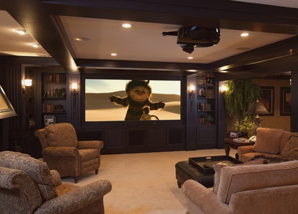 15 cool and minimalist home theater design with sofa for Home theater basement design ideas