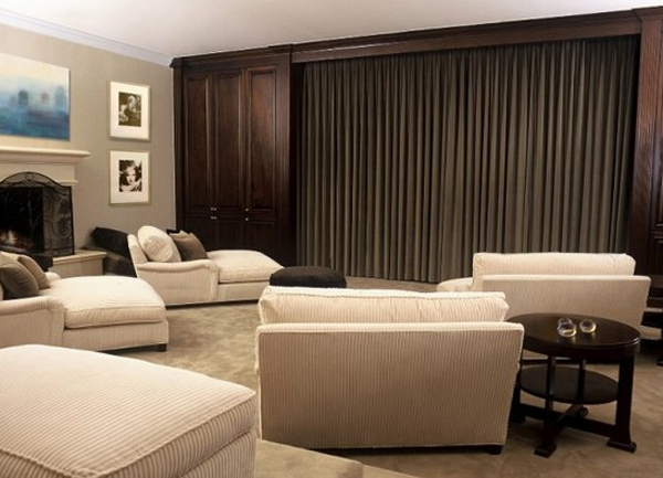 15 cool and minimalist home theater design with sofa. Black Bedroom Furniture Sets. Home Design Ideas